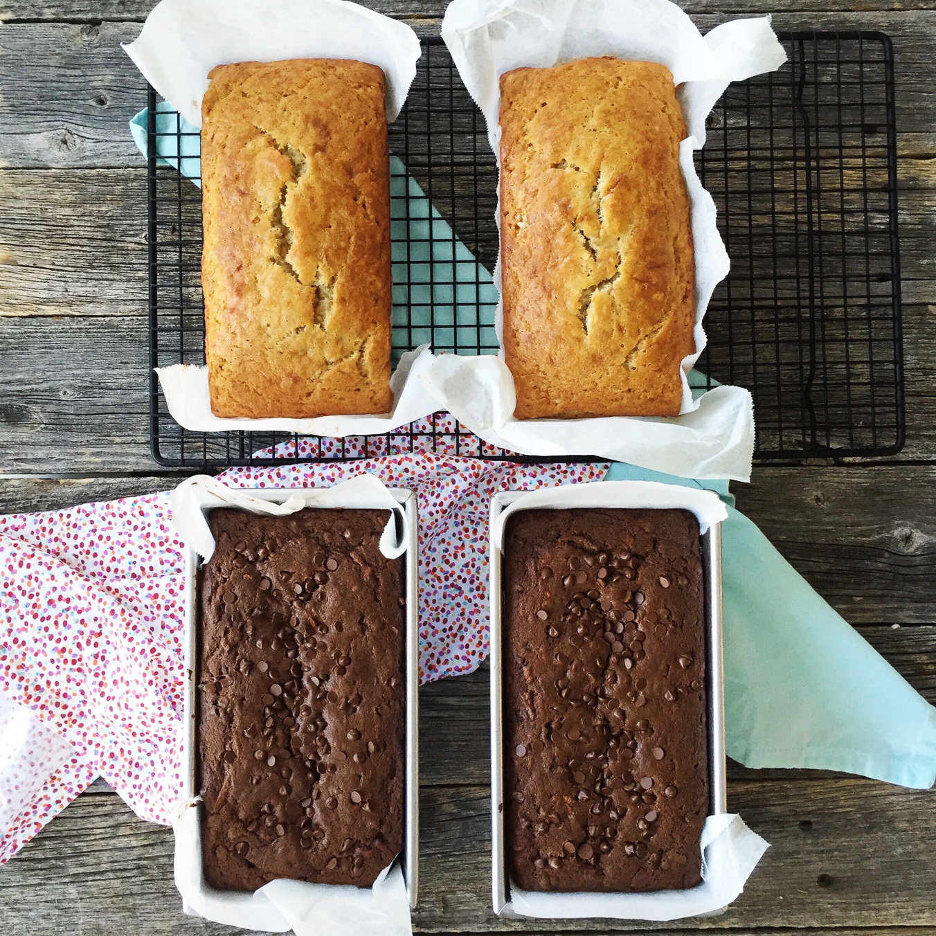 Classic Banana Bread and Chocolate Zucchini Bread
