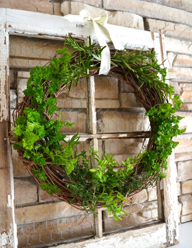 Fresh Herb Grapevine Wreath 2{A Pretty Life}