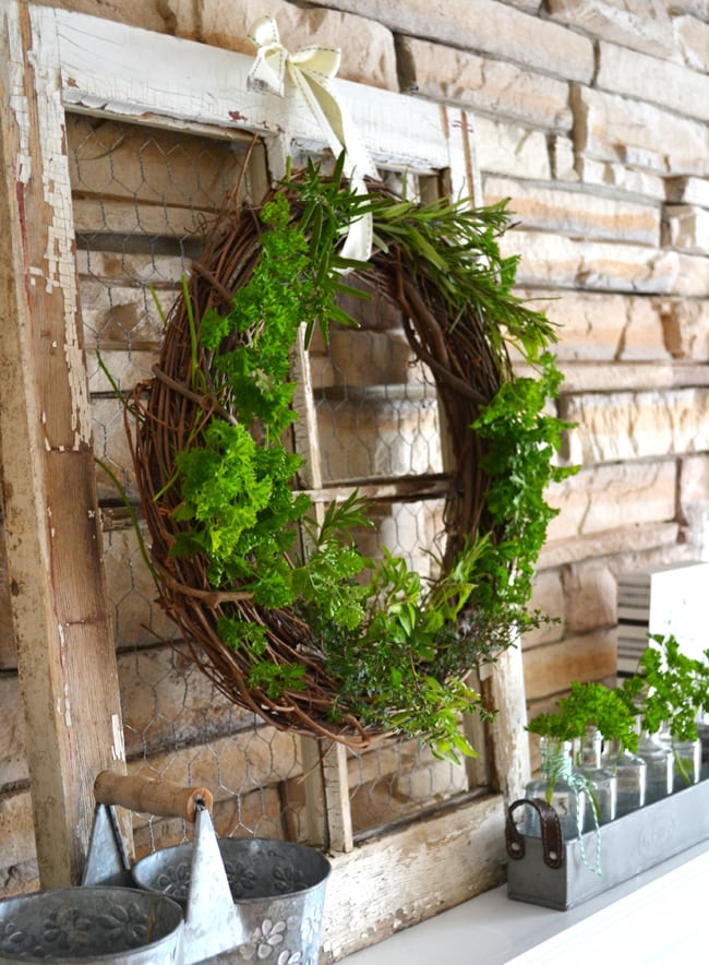 Fresh Herb Grapevine Wreath 3{A Pretty Life}