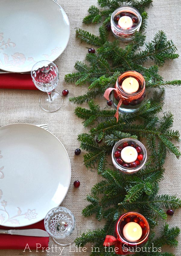 diy mason jar christmas centrepieces a pretty life - Cheap Christmas Table Decorations