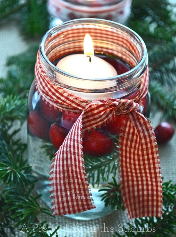 diy mason jar christmas centrepieces a pretty life - How To Decorate Mason Jars For Christmas