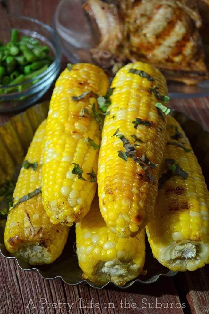 Basil Butter Roasted Corn