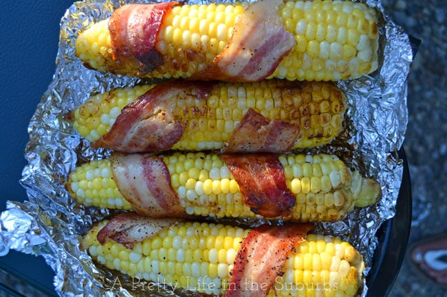 Campfire-Roasted-Bacon-Wrapped-Corn-{A-Pretty-Life}
