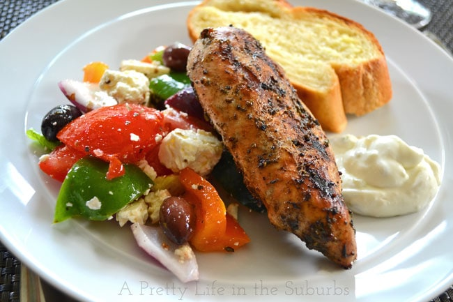 Greek Chicken & Salad {A Pretty Life}