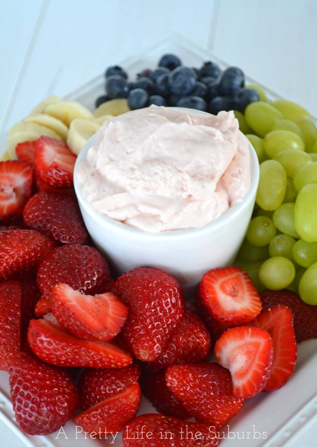 3 Ingredient Strawberry Fluff Fruit Dip {A Pretty Life}