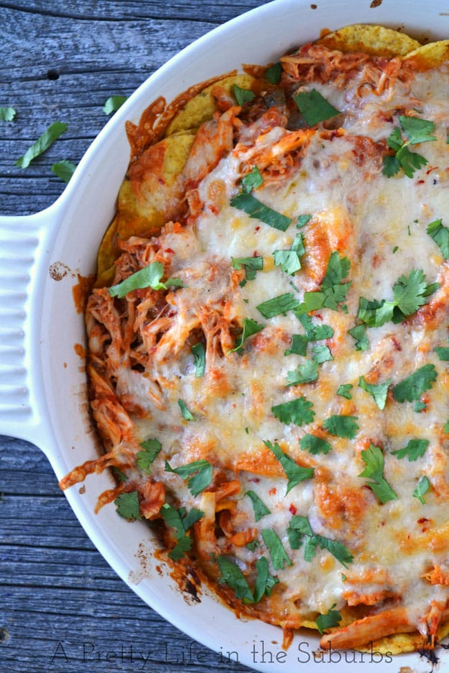 Easy Chicken Chilaquiles {A Pretty Life}