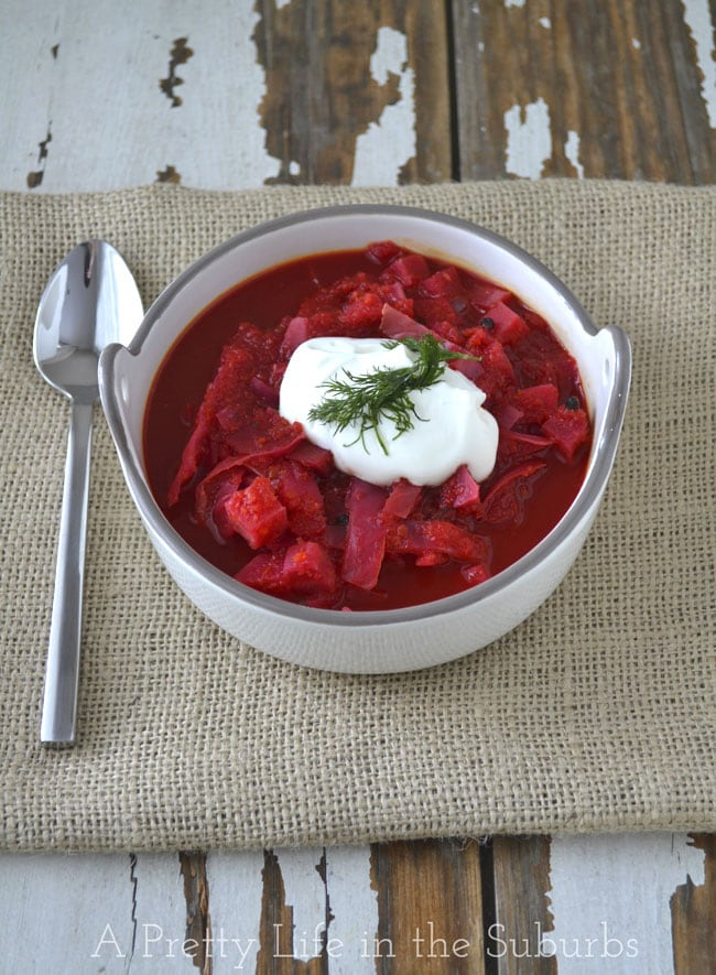 Easy Crockpot Borscht {A Pretty Life}