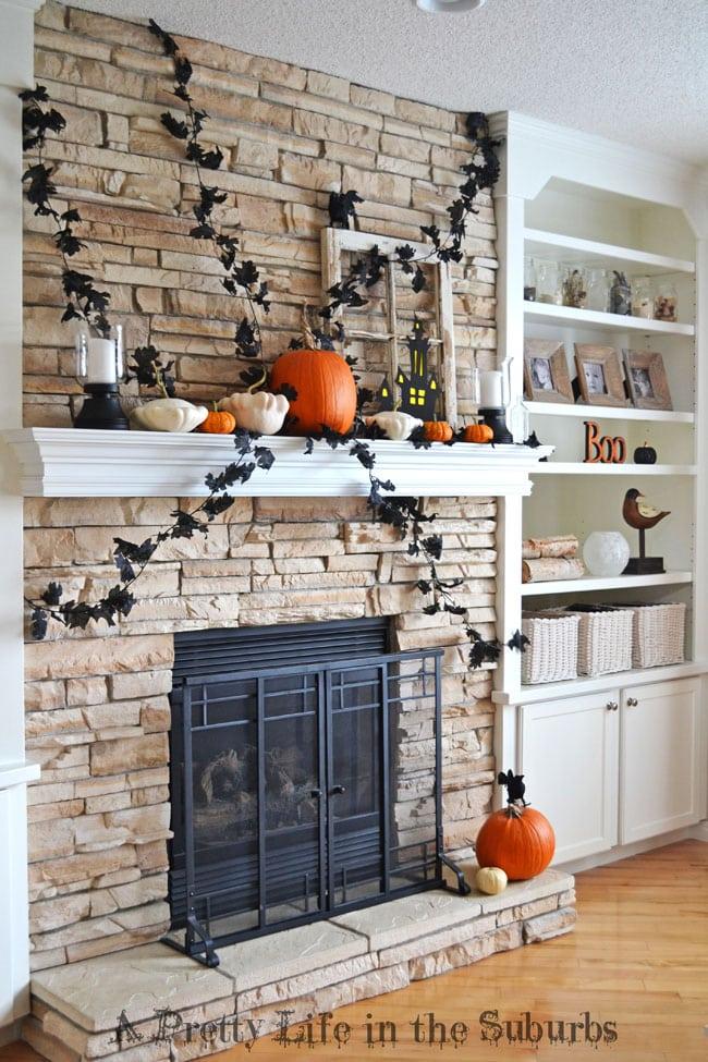 Black, Orange & White Halloween Mantel {A Pretty Life}