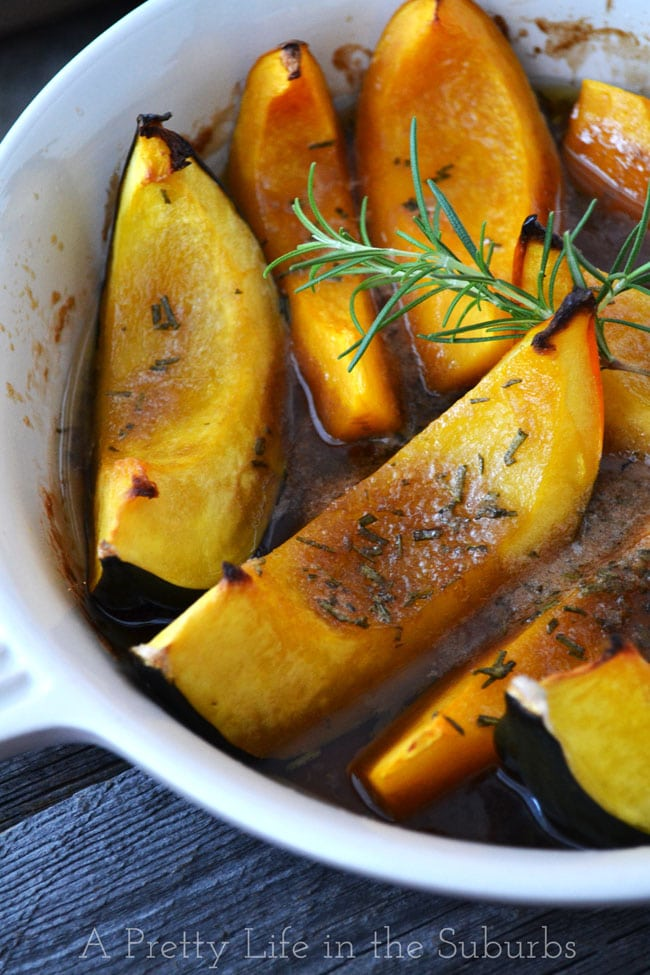 Roasted Brown Sugar & Rosemary Squash Wedges {A Pretty Life}