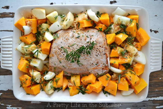 Roasted Pork with Brown Sugar & Rosemary Roasted Squash and Apples