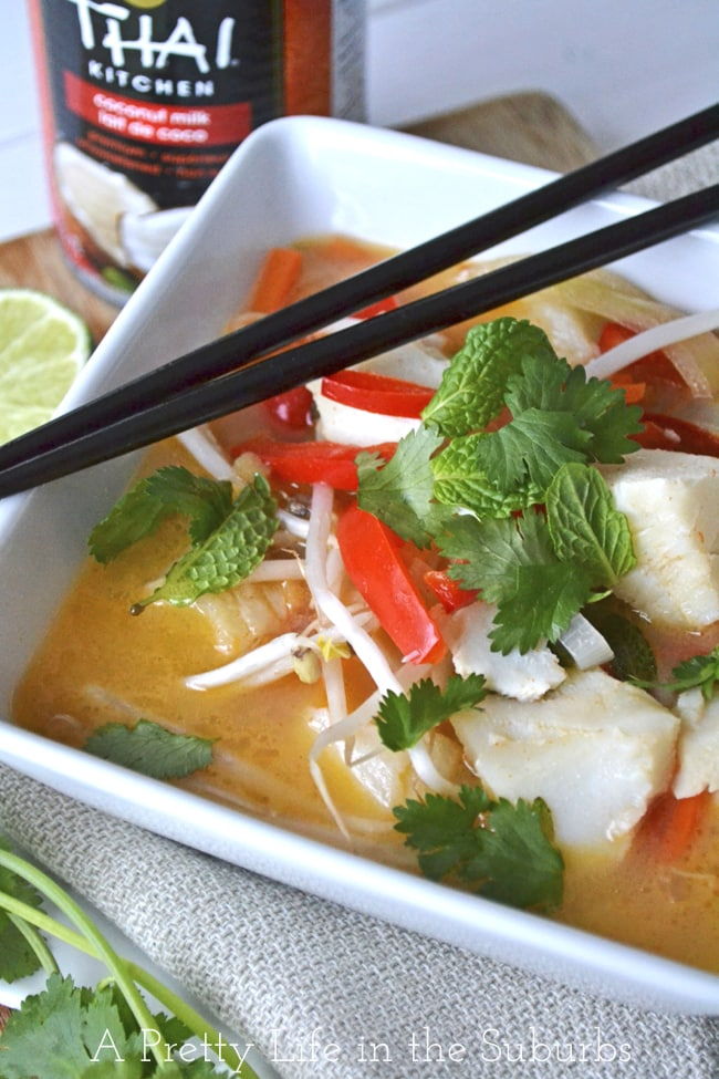 Coconut Curry Halibut Chowder {A Pretty Life}