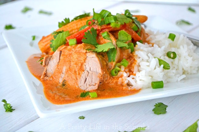 Coconut Red Curry Crockpot Pork Tenderloin {A Pretty Life}