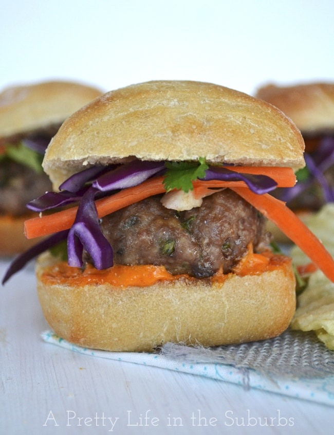 Thai Pork Sliders with Red Curry Aioli {A Pretty Life}
