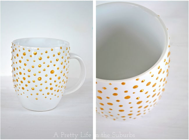 DIY Gold Polka Dot Mug & Irish Coffee {A Pretty Life}