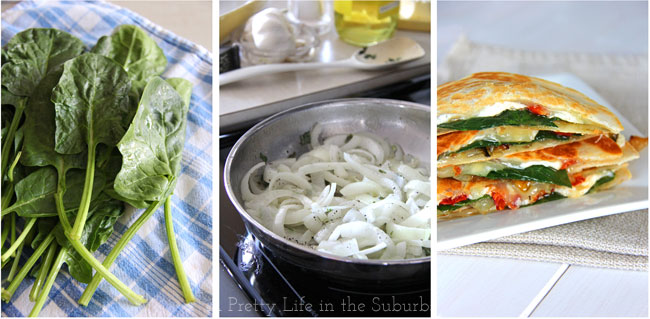 Spinach & Goat Cheese Quesadillas with Caramelized Onions and Sun Dried Tomatoes {A Pretty Life}