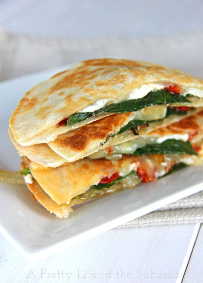 Spinach & Goat Cheese Quesadillas with Caramelized Onions and Sun Dried Tomatoes