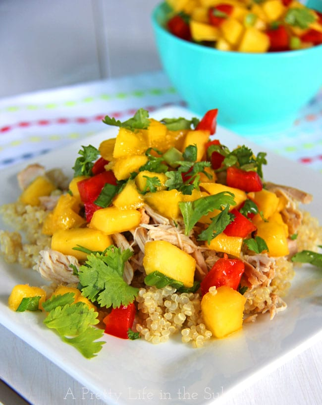Crockpot Mango Chicken with Mango Salsa