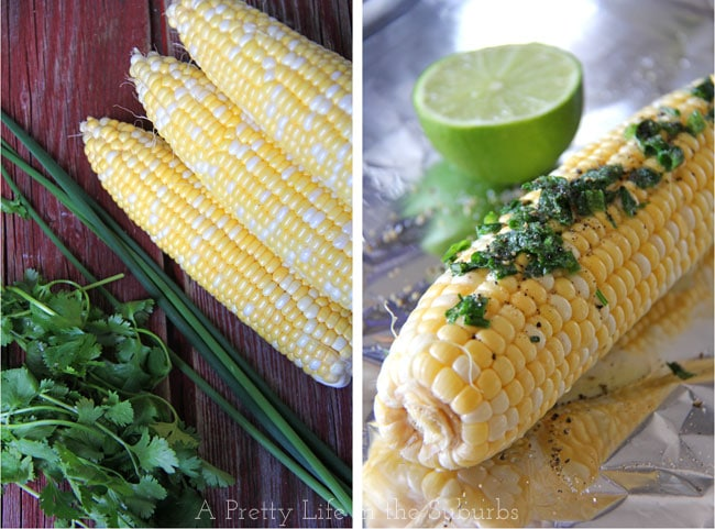 Grilled Corn on the Cob with Cilantro Butter & Lime