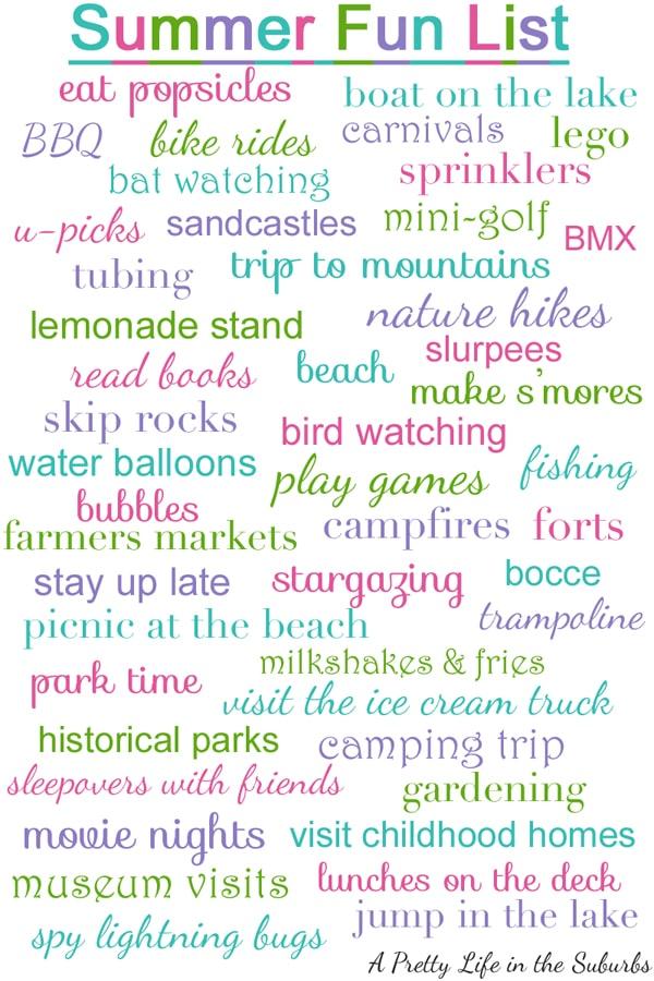 Summer Fun List A Pretty Life In The Suburbs