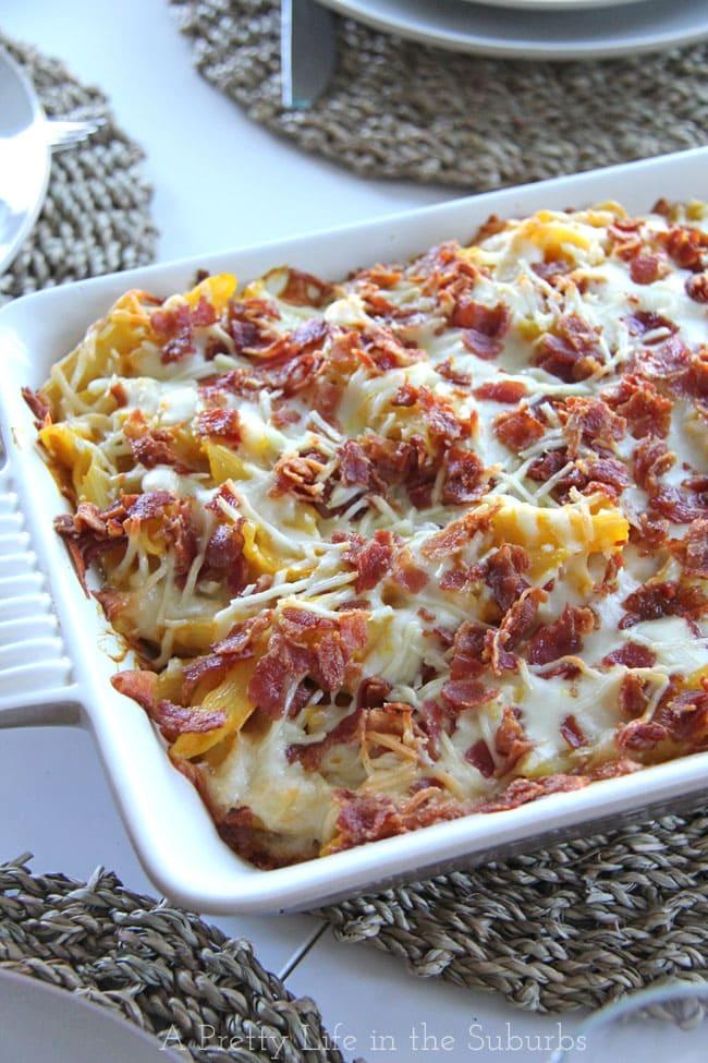 Cheesy Butternut Squash Pasta Bake {A Pretty Life}
