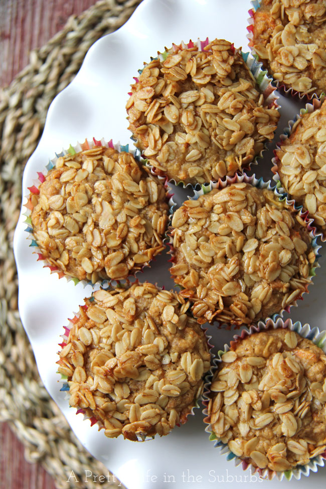 Hearty Banana, Apple & Carrot Muffins {A Pretty Life}