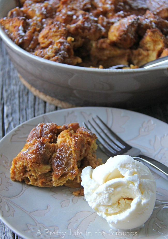 Pumpkin Bread Pudding {A Pretty Life}