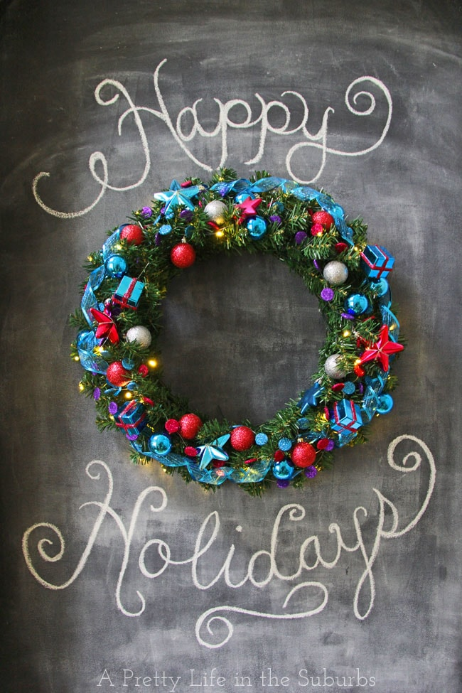 Christmas Wreath on Chalkboard Wall {A Pretty Life}