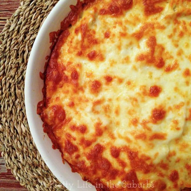 Cheesy Chicken Spaghetti Bake {A Pretty Life}