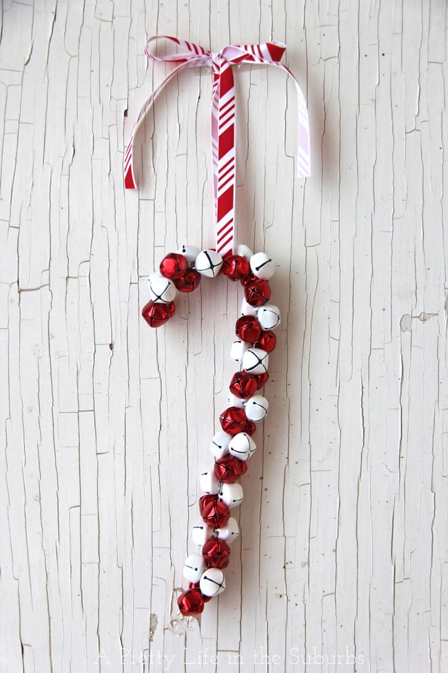 DIY Candy Cane Jingle Bell Ornament  {A Pretty Life}