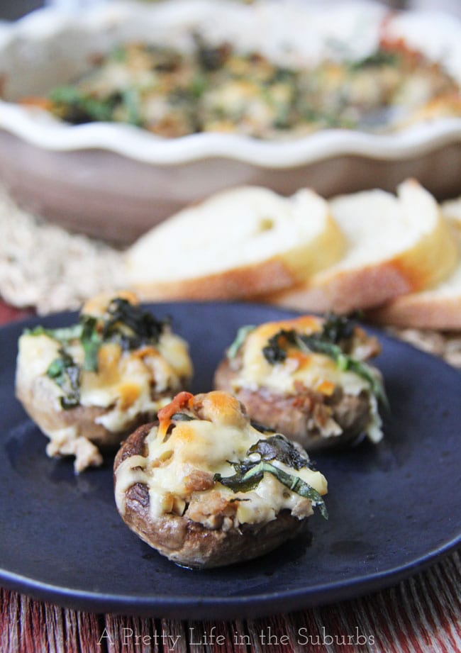 Stuffed Mushrooms aka Garlicky Basil Chicken in Mushroom Caps {A Pretty Life}