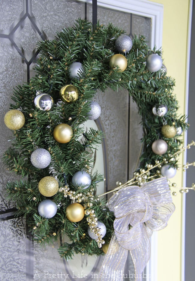 Silver-and-Gold-Evergreen-Wreath{A-Pretty-Life}