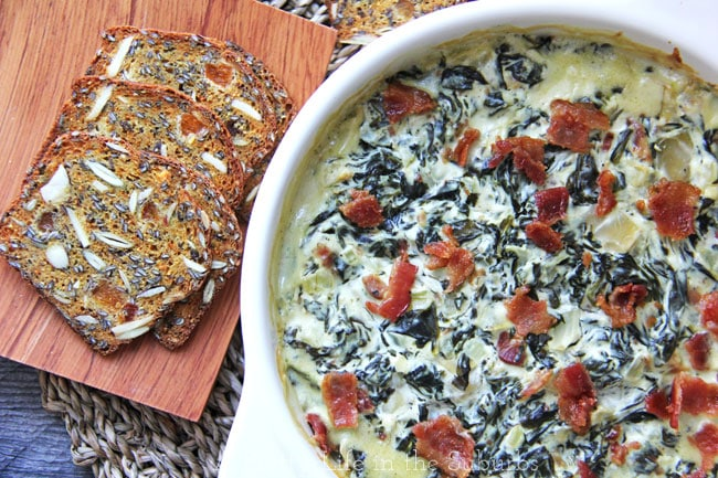 Baked Goat Cheese & Bacon Spinach Dip {A Pretty Life}