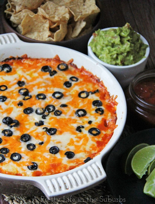 Cheesy Baked Mexican Chicken Dip {A Pretty Life}