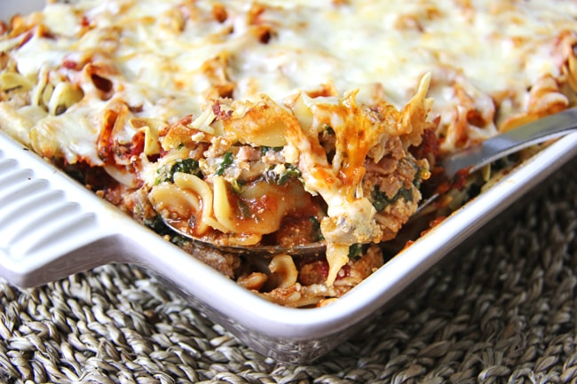 Ground Chicken & Spinach Noodle Bake