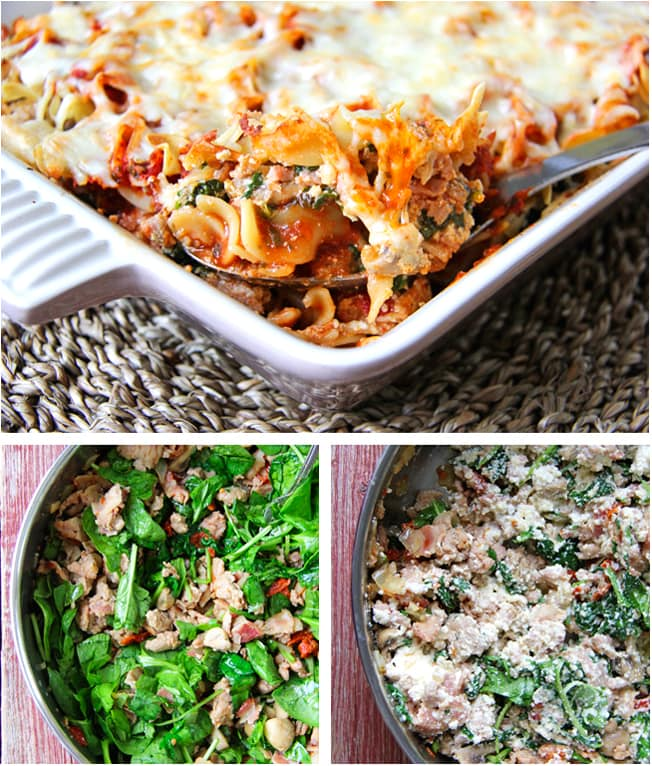 Ground Chicken & Spinach Noodle Bake {A Pretty Life}
