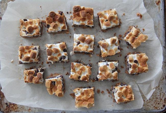 S'more Magic Cookie Bars {A Pretty Life}
