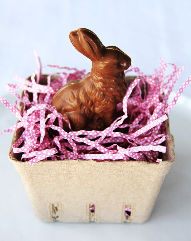 Easter Basket Table Settings with Chocolate Bunnies