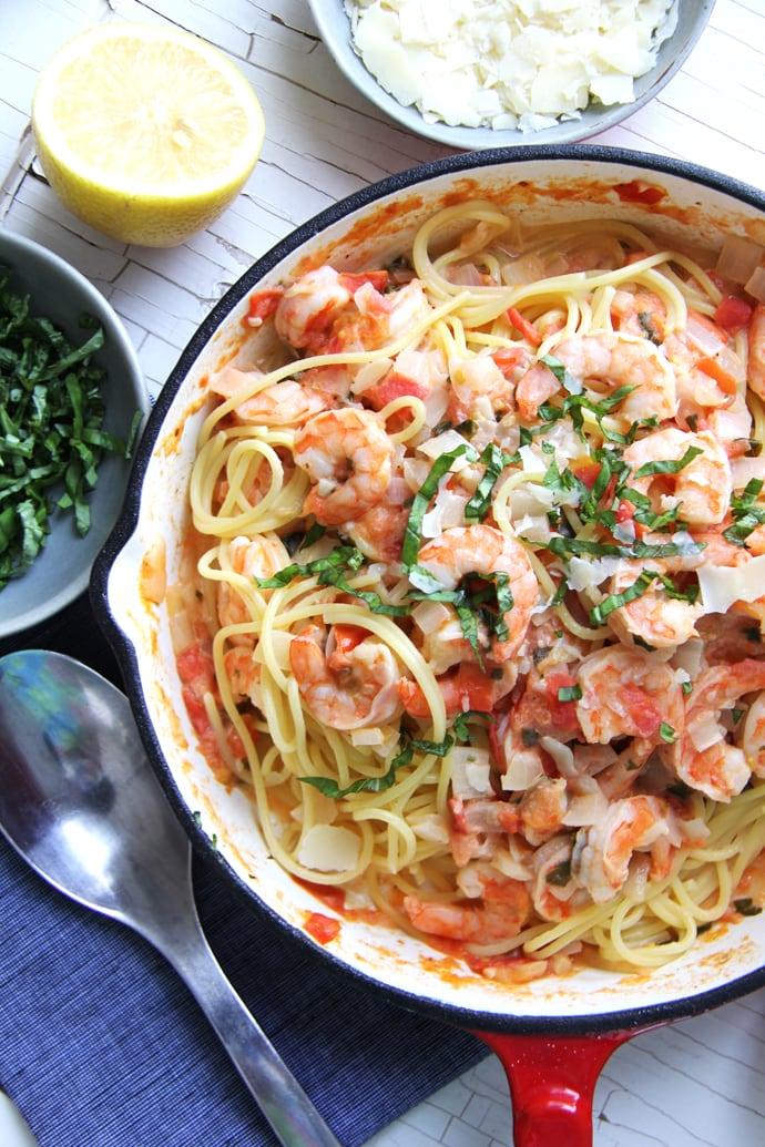 Creamy Tomato & Basil Shrimp Pasta