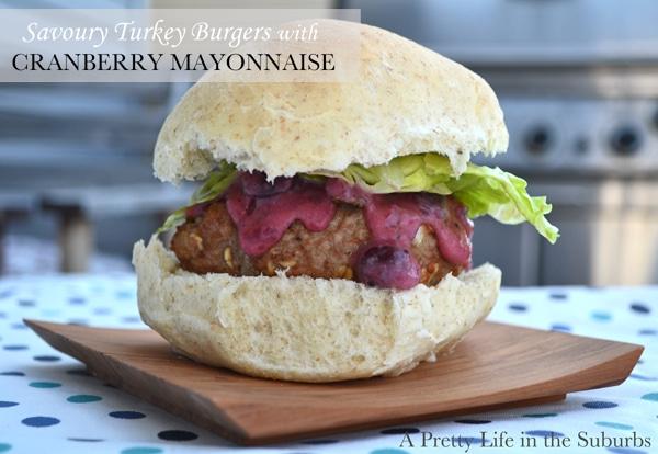 Savoury Turkey Burgers with Cranberry Mayo