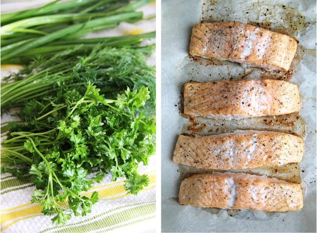 Baked Salmon with Pasta & Fresh Herbs