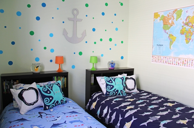 Boys Shark Theme Bedroom  4{A Pretty Life}