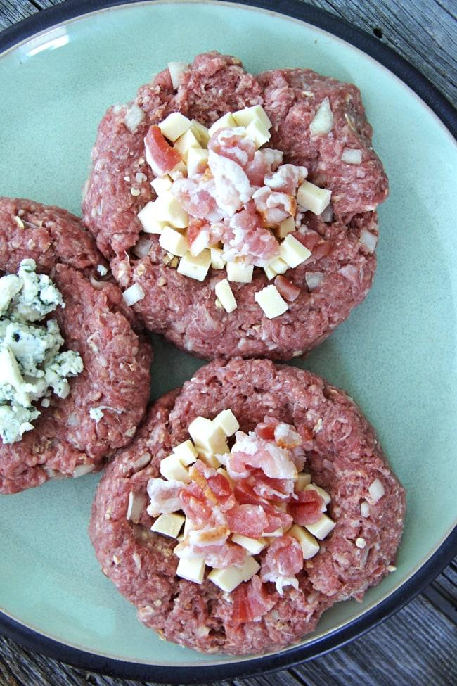 Smoked Gruyere & Bacon Stuffed Burgers with Balsamic Caramelized Onions