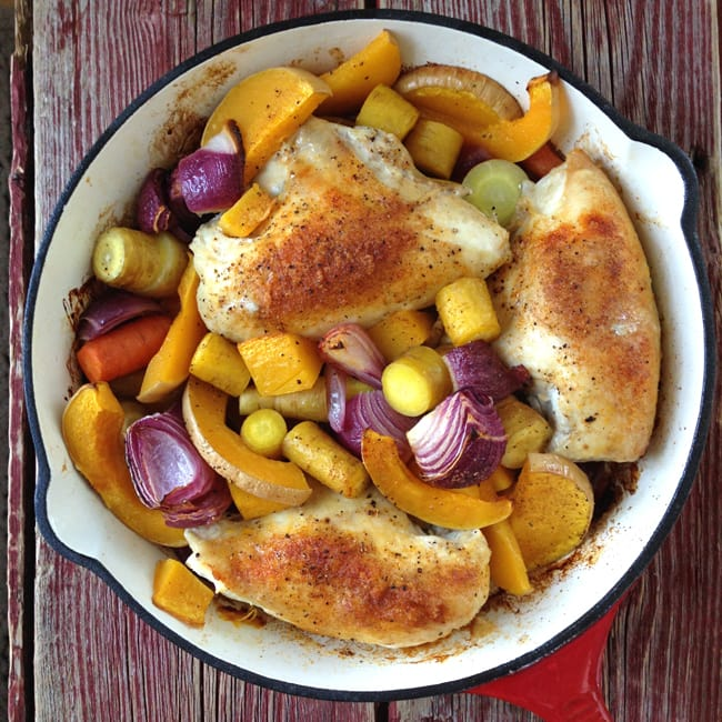 One Hour One Pot Roasted Chicken Dinner