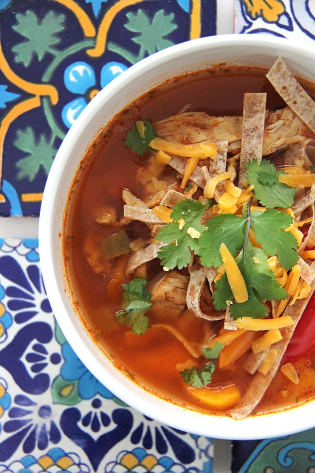 Crockpot Chicken Fajitas Soup {A Pretty Life}