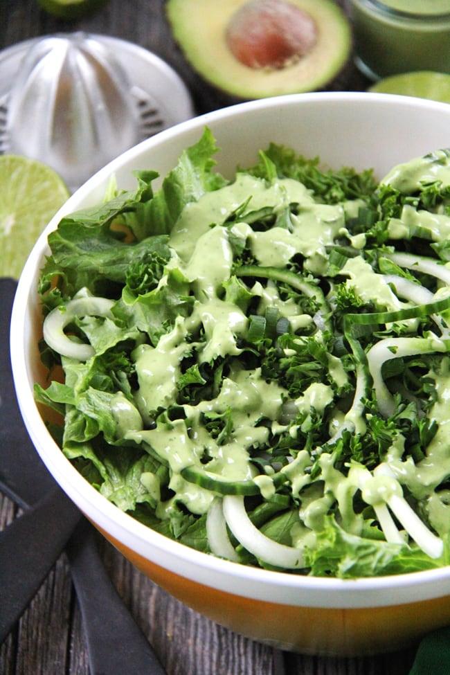 All Green Salad with a Creamy Avocado Vinaigrette