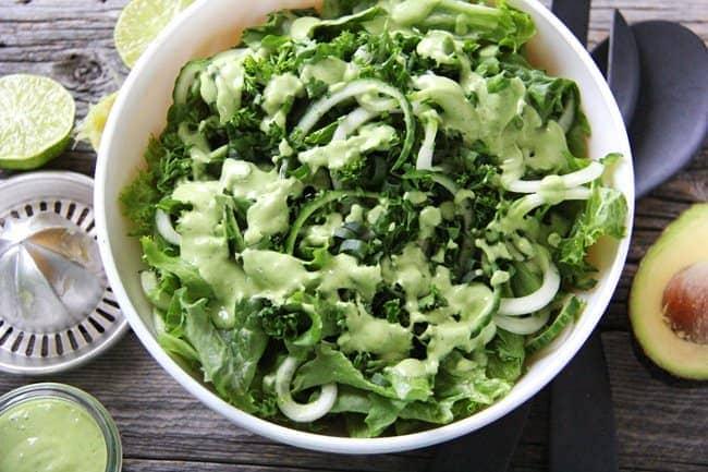 All Green Salad with a Creamy Avocado Vinaigrette 2a