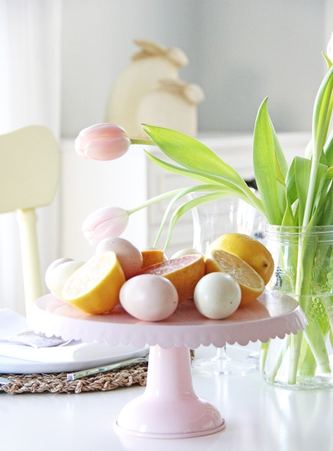 An Easter Table Setting in Pink and Yellow