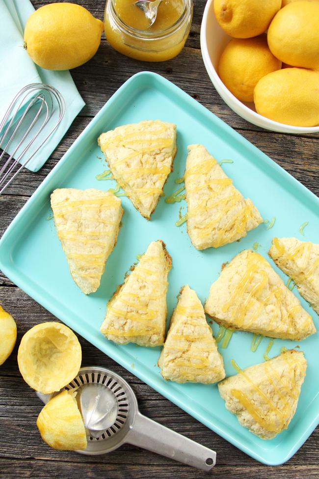 Lemon Scones with Lemon Curd Glaze