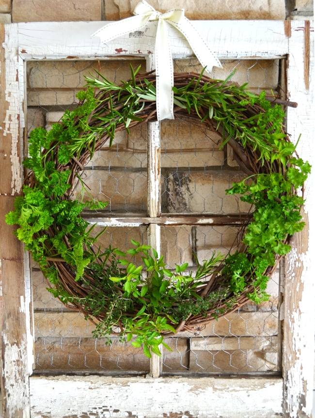 Fresh Herb Grapevine Wreath {A Pretty Life}