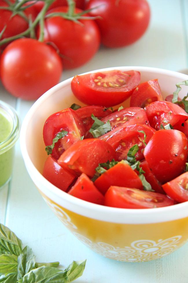 Fresh Tomato Salad with Basil Balsamic Vinaigrette
